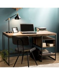 Industrial office in recycled teak wood and metal at - New Deko Sites Study Room Decor, Industrial Office, Industrial Metal, Teak Wood, New Room, Dream Bedroom, Office Desk, Office Inspo, Sweet Home