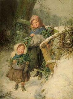 British Paintings: Frederick James Shields - The Holly Gatherers 1858