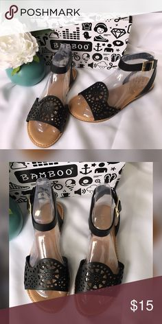Bamboo laser cut Sandals Condition: Brand new  Size: various Color: Black Details: buckle closure. Can be crossed tied at Ankle. Vegan faux lasercut leather. bamboo Shoes Sandals