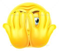 Buy Scared Emoticon Emoji by Krisdog on GraphicRiver. An emoticon emoji looking very scared hiding behind his hands Smiley Emoticon, Emoticon Faces, Smiley Faces, Animated Emoticons, Funny Emoticons, Emoji Images, Emoji Pictures, Expression Face