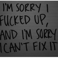 I fucked up I can't fix it. I made you think about your life and now shit hits the fan . Up Quotes, Love Quotes, Qoutes, Funny Quotes, Sorry I Hurt You, Im So Sorry, Im So Stupid, Im Sorry Quotes, Apologies Quotes