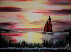 Sailboat Painting/Original Acrylic Seascape/Landscape 18 x 24 Canvas/Fine Art Collectibles/Artwork/Artist Florida/Beach/Sea/Ocean/Free Gift!