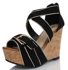 Black Wedge #sandals #wedges #shoes #fashion