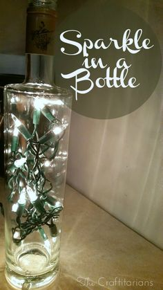 ***Sparkle in a Bottle***  When I was finished making this craft I thought it was so simple and beautiful. I could use this as a regular decorative piece or for a special occasion! Find out how to make this on our page! #thecraftitarians #getcrafty #crafts #lights #bottles