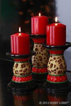 ❤️ these leopard candle holders! Animal Print Decor, Animal Print Fashion, Animal Prints, Leopard Prints, Cheetah Print, Candle Lanterns, Pillar Candles, Leopard Decor, Red Leopard