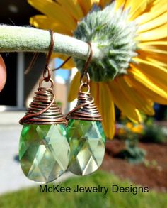Peridot crystal and copper wire wrapped earrings. Copper and green jewelry -  - McKee Jewelry Designs - 1