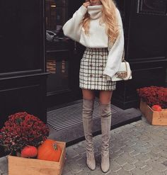 Plaid skirt, white sweater, over the knee gray booties. Street style, street fashion, best street style, OOTD, OOTD Inspo, street style stalking, outfit ideas, what to wear now, Fashion Bloggers, Style, Seasonal Style, Outfit Inspiration, Trends, Looks, Outfits.