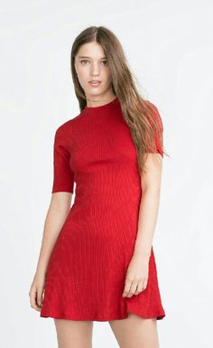 Zara Red Ribbed Cotton Mini Dress