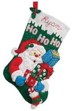 bucilla felt applique christmas stocking kit santas gifts this is an bucilla felt applique christmas stocking kit bucilla felt kits include everything - Christmas Stocking Kits