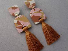 Baby Tassel Earring - Mustard / Terrazzo Earrings / Tassel Earrings / Polymer Clay Earrings / Stud Earrings by thesleeplesscreative on Etsy