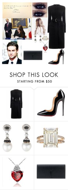 """""""Flashback (6 Days Ago): Going To The French Embassy in London To Sign There Condolences To Nice, France"""" by dawn-wales ❤ liked on Polyvore featuring Alexander McQueen, Christian Louboutin, Betteridge and Yves Saint Laurent"""