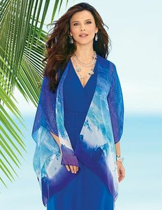 Discover an endless ocean of layering possibilities with our silky, sheer cascade jacket in a rich, sea shades print. Pair it with one of our Perfect Price tanks for a refreshing, seasonal look. Openfront. Poncho-style sleeves. Asymmetrical hem. Catherines jackets are styled exclusively for the plus size woman. catherines.com