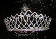 Silver Clear Rhinestone Pageant Tiara Headpiece . Large Crystal Tiara. Photography prop. Pageant Crystal Tiara .Flower Girl. Prom Crown