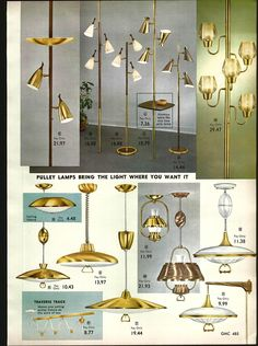 1962 2 Page Advert Mid Century Modern Pole Pulley Bullet Lamps Lighting Starlite | eBay