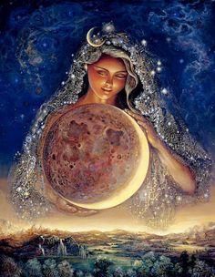 Art illustration | Cosmos Lady holding the moon