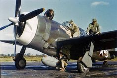 """Ground crew of the 61st Fighter Squadron, 56th Fighter Group, at work on CAPT Gerald Johnson's P-47D Thunderbolt serial 42-7877 (HV-D) named """"In The Mood"""" ============================= Fallow my partner @ww2livinghistory ============================= #ww2 #wwii #wwiiincolors #wwiicolor #P47 #thunderbolt #Italy #WarBird #aviationphotography #aviation #aviationlovers #instaaviation #pilot #history #Military #war #secondworlwar #airforce #usaf #airwar #fighteraircraft #airplane #waraircraft…"""