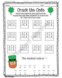 Math Printables for St. Patrick's Day