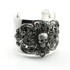 Gothic Bracelet - Skull Wrist Cuff - Menace - Layered with Antiqued Sterling Silver Plated Filigree Cross - by Ghostlove. $55,00, via Etsy.