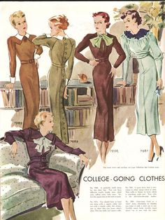 """1934 """"You should have at least one dress with a square collar and one dress with a double collar this winter, just to show that you know what's what"""""""