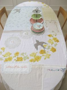 I have so many little hankies, table cloths with stains I could salvage, dollies--etc. this is an awesome idea!!!