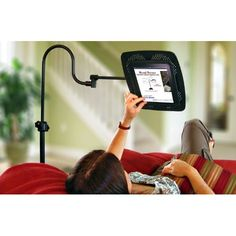 LEVO Deluxe eReader Floor Stand - Heavy enough so it doesn't top over and easily adjustable for sitting, reclining, standing or lying down.  Can also hold books with optional Book Platform Accessory.