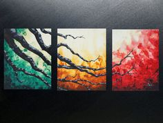 Large original 20x48 abstract modern triptych canvas acrylic vibrant wall art painting green gold red tree branches