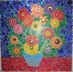 10 idéias de flores com tampinhas de garrafas - Artesanato com Reciclagem - O mundo do reaproveitamento!