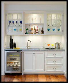 wet bar sink wine fridge and drawers