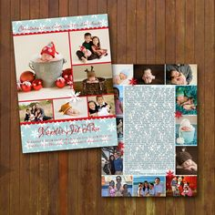 Christmas Baby Announcement - Family Newsletter Double Sided Card. $28.00, via Etsy.