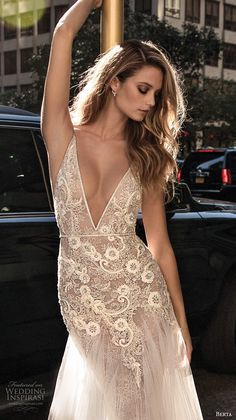 berta fall 2017 bridal sleeveless thing strap deep v neckline heavily embellished bodice sexy romantic tulle skirt a line weding dress low back chapel train zv -- Berta Fall 2017 Wedding Dresses V Neck Wedding Dress, Sexy Wedding Dresses, Party Dresses, Berta Bridal, Bridal Gowns, Year 10 Formal Dresses, 2017 Bridal, 2017 Wedding, Plus Size Wedding Gowns