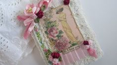 Rose Travel Journal, Edwardian, Shabby Notebook, Lace Mini Journal, Fabric Book