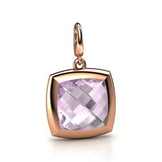 Another one of these checkerboard gems. Cushion Double-sided Rose de France 14K Rose Gold Charm
