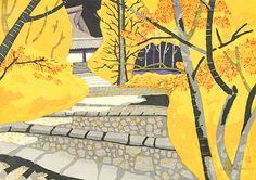 関野準一郎『石薬師(紅葉) 東海道五十三次45』 32.5×46.0 木版 ed98