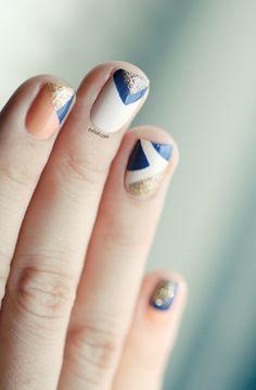 Peach and Blue nails