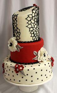 Red, white, and black wedding cake