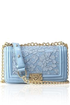 Lace Solid Color Chain Crossbody Bag
