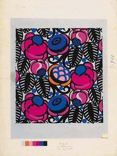 Raoul Dufy, Design no. 51901, flowers and leaves, bodycolour on paper - 65 x 49cm