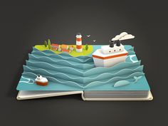 Animated pop-up book pages for the Air Pano iOS App by Anna Paschenko Pop Up Art, Arte Pop Up, Icon Design, Game Design, Web Design, Matt Shlian, Cuento Pop Up, Foto 3d, Paper Pop