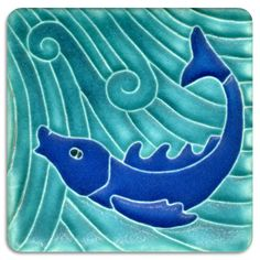 3x3 Fish - Turquoise Cobalt from Motawi Tileworks