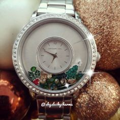 Origami Owl Watch in Silver + Christmas tree and mistletoe charms https://locketsandcharms.origamiowl.com/product/1403/LK5001/SilverSignatureLocketWatchwithSwarovskiCrystals