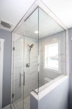 Matte White and Gray Tiled Shower with Custom Glass Shower Door Gray Shower Tile, Grey Tiles, Custom Glass, Glass Shower Doors, Gray Tiles