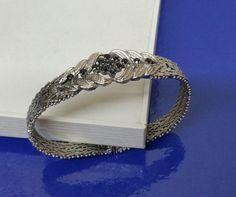 Vintage Armschmuck - 50er Jahre Armband Silber 835 und Saphire SA132 - ein Designerstück von Atelier-Regina bei DaWanda
