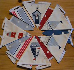 Nautical style bunting - Boats, lighthouse & Beach Huts plus spots and stripes. Excellent value for money - Large flags & quality fabrics - DOUBLE SIDED BUNTING which will last -unlike single sided bunting. Nautical Bunting, Bunting Flags, Bunting Ideas, Ocean Themes, Beach Themes, Painted Bunting, House By The Sea, House 2, Seaside Art