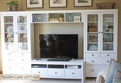 Entertainment center ikea hemnes white perfect setup for the great entertainment center white solid wood entertainment Ikea Entertainment Center, Entertainment Products, Cottage Shabby Chic, Lake Cottage, Muebles Living, Great Rooms, Game Room, Family Room, Family Homes