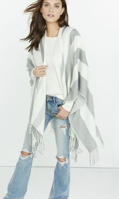 metallic gray and ivory stripe scarf cover-up from EXPRESS