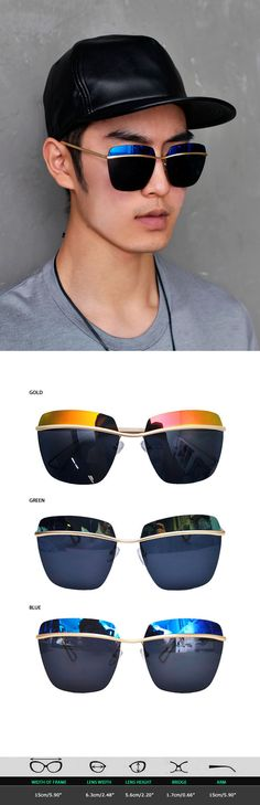Mens Mirror Top Seamingless Gold Bar Shield Sunglasses By Guylook.com