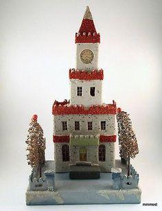 """Vintage Japan Putz Cardboard Christmas Village Castle House Clocktower 13"""" Tall"""