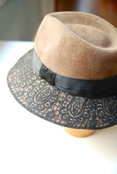 Light brown felt fedora hat with black vintage lace detail