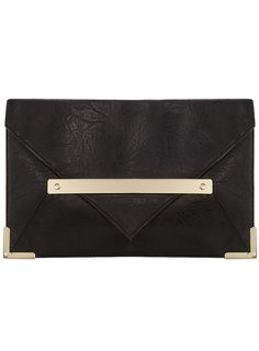 black and gold envelope clutch