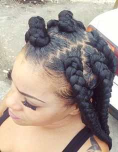 Black Jumbo Box Braids + Zig Zag Parting